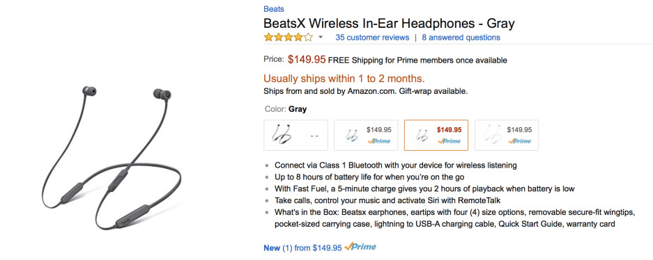 BeatsX are now available for purchase on Amazon, but ship dates are still lengthy