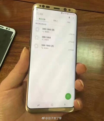 Gold Samsung Galaxy S8+ leaks in live image