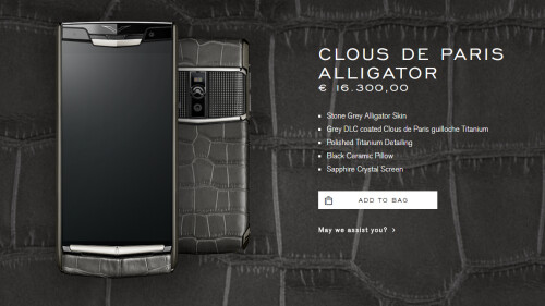 Vertu's collection has phones selling for five figures