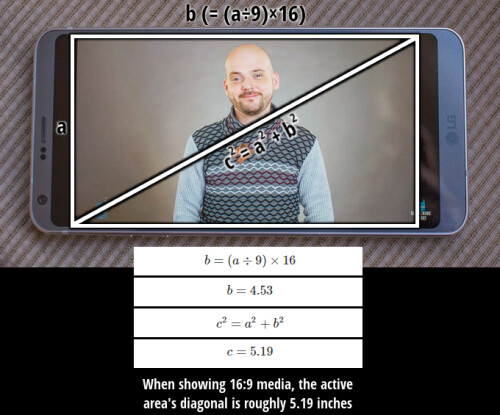 Divide the small side by 9 and multiply by 16 to get the size of the big side in a 16 by 9 situation. Use Pythagorean theorem to calculate the picture's diagonal