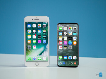 Concept iPhone 8 next to an iPhone 7 Plus