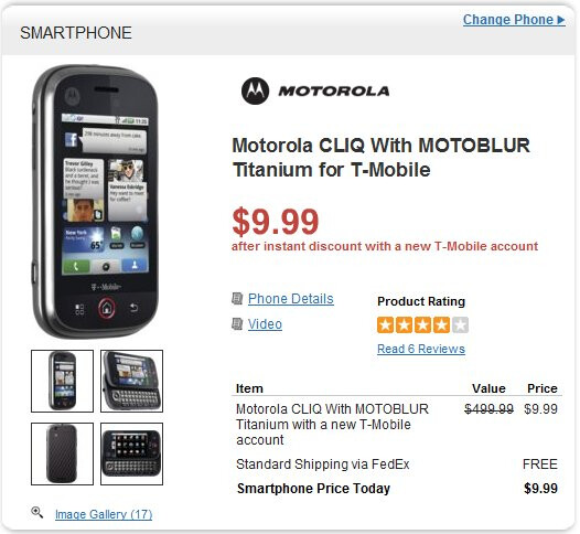 Motorola CLIQ is going for an ultra affordable price of $10