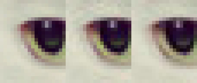 A crop of a cat's eye. From left to right – original, libjpeg, Guetzli - Google's JPEG encoder reduces image size by 35%, could help you save mobile data in the future