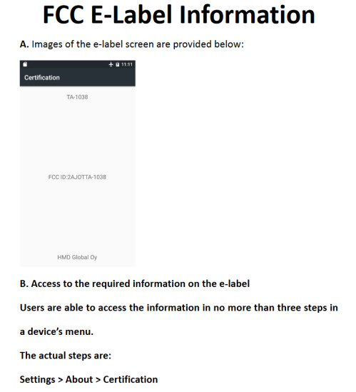 FAA E-label placement for the Nokia 3