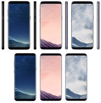 Top row-Galaxy S8 Black Sky, Orchid Grey, Arctic Silver; Bottom row-Galaxy S8+ Black Sky, Orchid Grey, Arctic Silver