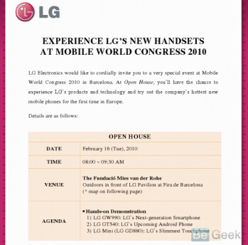 LG event at MWC to show off LG Mini GD 880, 2 other models