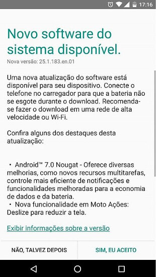 oto X Style is updated to Android 7.0