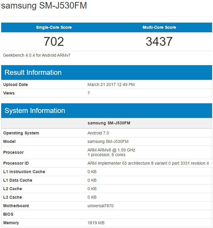 Samsung Galaxy J5 (2017) partial specs list - Samsung Galaxy J5 (2017) leaked specs include Exynos 7870 CPU, Android 7.0 Nougat