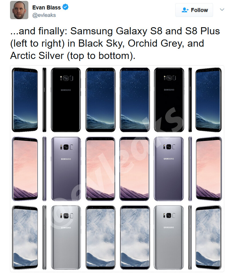 New renders of the Galaxy S8 and Galaxy S8+ show off the phone in three colors and four angles - Latest Samsung Galaxy S8 and Galaxy S8+ renders show three colors and four angles