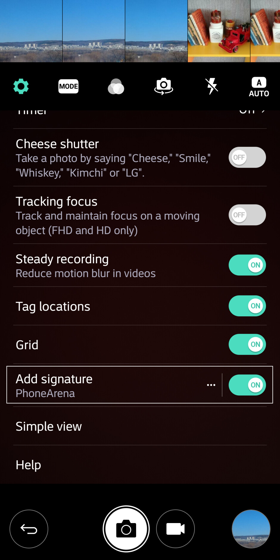 The new signature option in settings - LG G6 camera UI: what's changed?