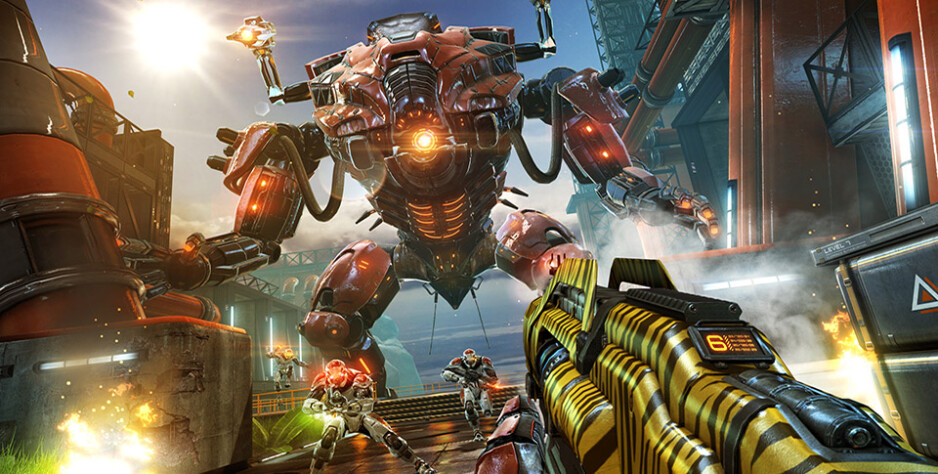 Only tiger stripes can scare off a Big Boss like that - New Shadowgun Legends gameplay footage shows the dazzling graphics possible on current smartphones