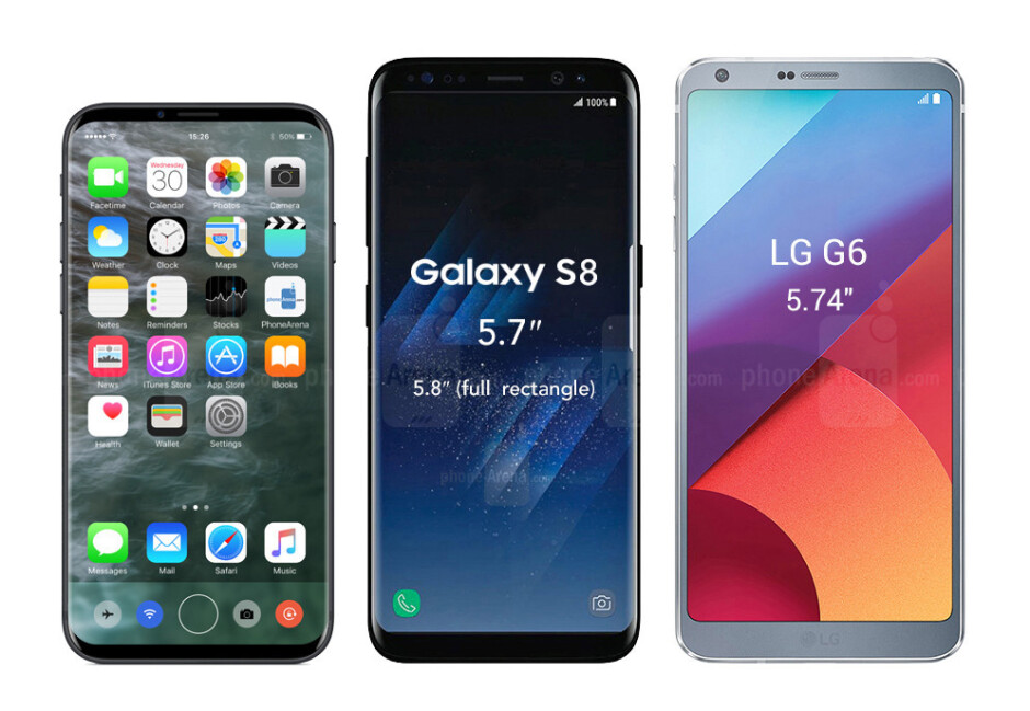 The Samsung Galaxy S8 and the LG G6 have displays that are almost identical in size (around 5.8 inches), but their execution is quite different. Further than that, S8's display is even taller than the already tall FullVision display of the LG G6 - What the Galaxy S8/S8+ and the LG G6 may look like next to an almost bezel-less iPhone 8