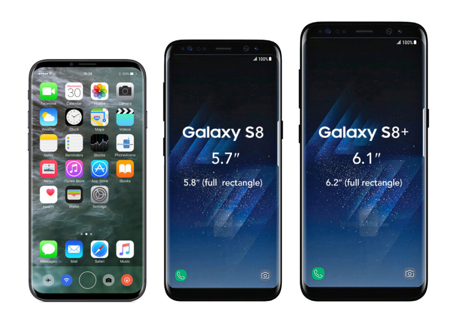 What the Galaxy S8/S8+ and the LG G6 may look like next to an almost bezel-less iPhone 8