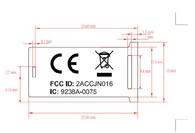 KEYone dimensions and the placement of the FCC label