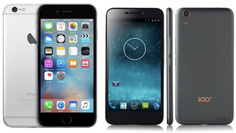 Regulators in China had banned the iPhone 6/6 Plus in the country after finding that the phone infringed on the design patent belonging to the Shenzhen Baili 100c, pictured on right - Chinese court removes sales ban on the Apple iPhone 6 and Apple iPhone 6 Plus