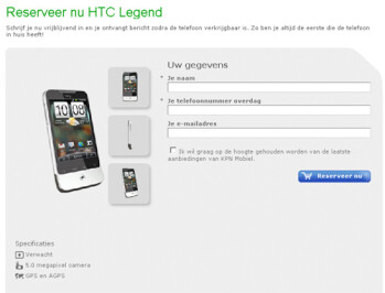 HTC Legend expected to go on sale in March according to Dutch web site
