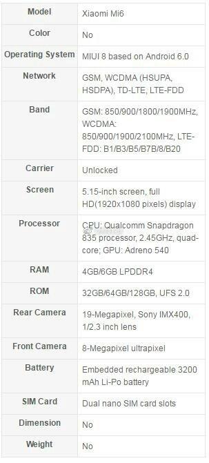 Xiaomi Mi 6 and Mi 6 Plus specs sheets - Xiaomi Mi 6 and Mi 6 Plus alleged specs leak: Snapdragon 835, lots of RAM in tow