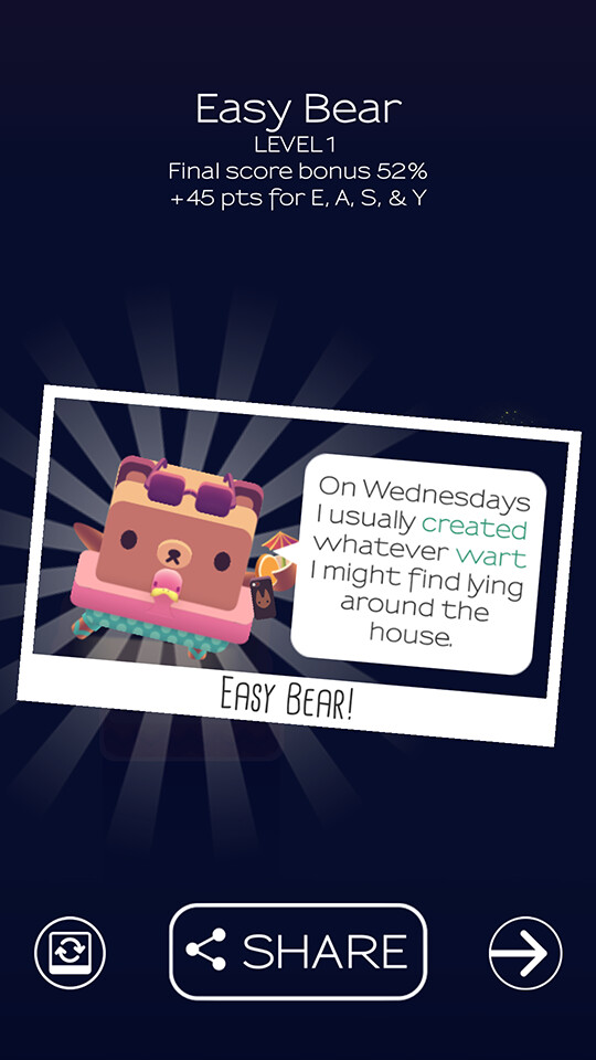 At the end of each level players are rewarded with a cute non-sequitur constructed with their words - Alphabear is the rare word game that is actually fun