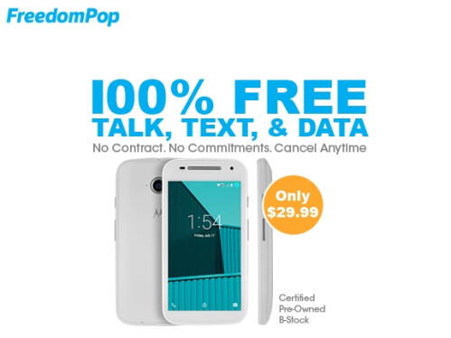 Get 86% off the Moto E + Unlimited plan at FreedomPop