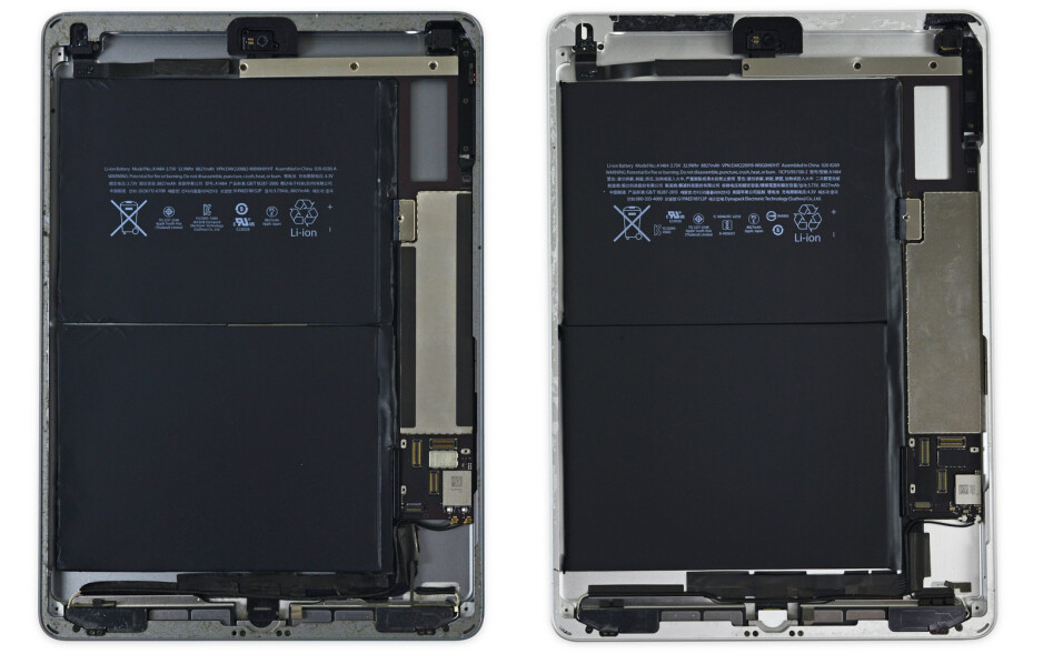 """iPad Air on the left, new iPad on the right. An example of real-life copy-pasting. - How """"new"""" is the new Apple iPad, exactly? iFixit dismantled it and confirmed the obvious"""