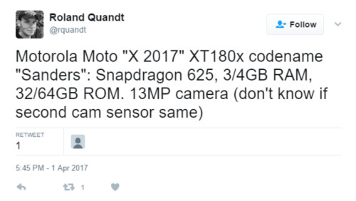 Tweet from @rquandt about the Moto X (2017)