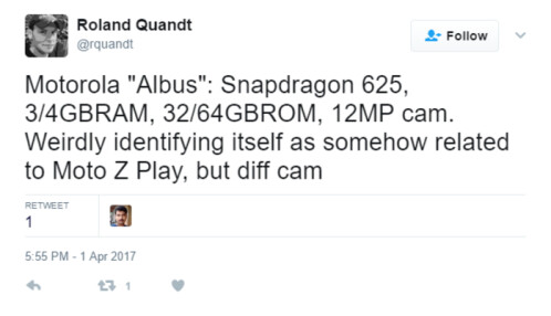 Tweet from @rquandt about another phone with the codename of Albus