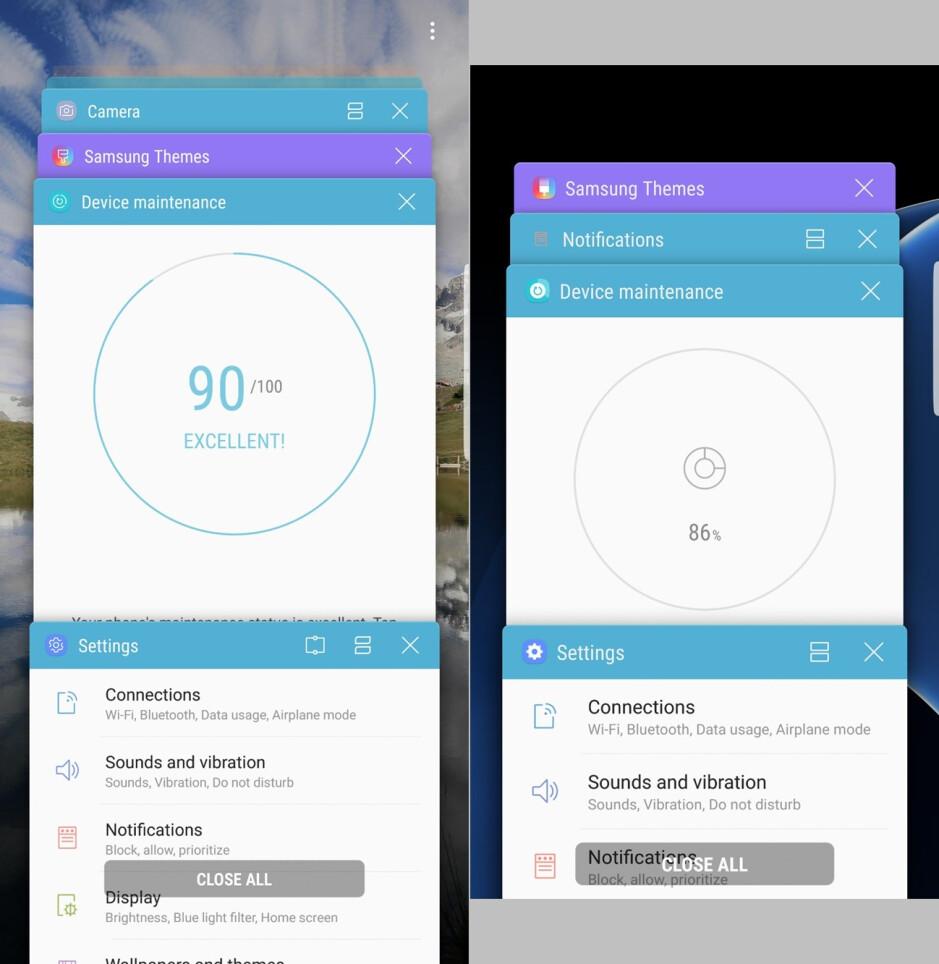Galaxy S8+ (left) vs S7 edge (right) - Galaxy S8+ vs Galaxy S7 edge interface comparison: here's what's changed