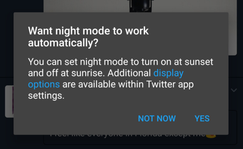 Twitter is beta testing an automatic night mode feature for Android users - Twitter is beta testing an automatic night mode feature for Android users