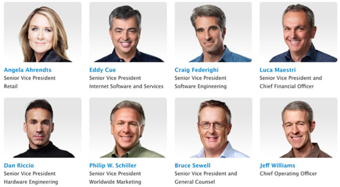 Why are these eight Apple executives smiling? Read the story below! - Eight Apple executives enjoy a big pay day as restricted stock units vest