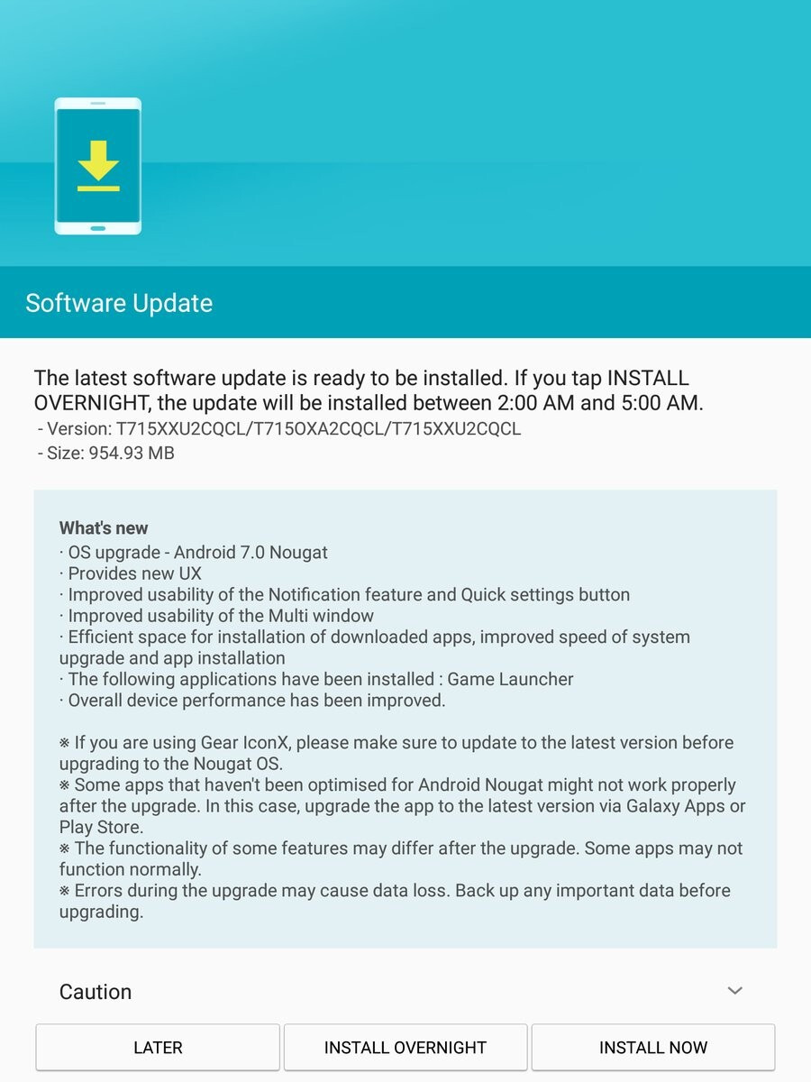 Samsung Galaxy Tab S2 8.0 and 9.7 start getting Android 7.0 Nougat update