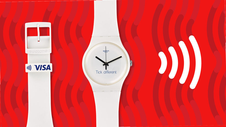 """Swatch is advertising certain NFC-enabled watches with the 'Tick different' slogan - Swatch ticks Apple off with """"Tick Different"""" ad campaign"""
