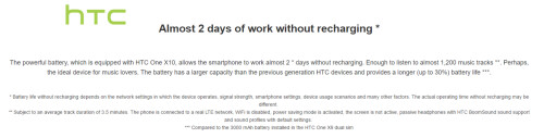 The HTC One X10 features a 4000mAh battery