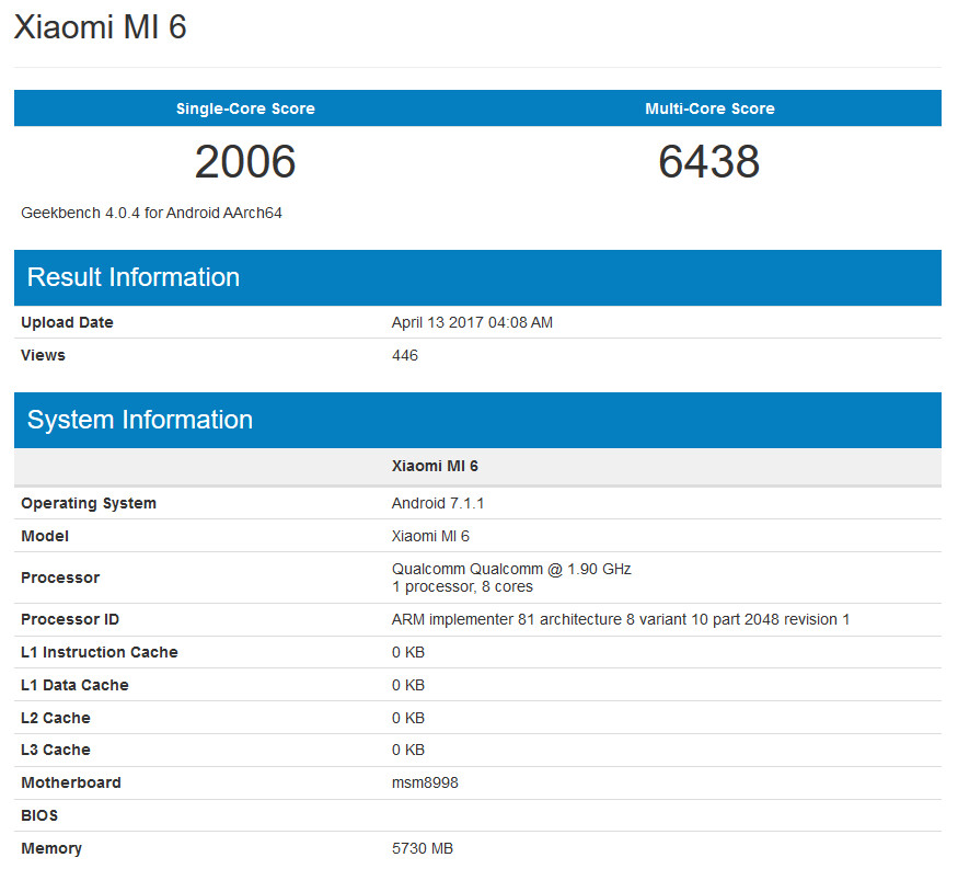 The Xiaomi Mi 6 outscores the Samsung Galaxy S8 on Geekbench - Xiaomi Mi 6, with 6GB of RAM, tops the Samsung Galaxy S8 and Galaxy S8+ on benchmark test
