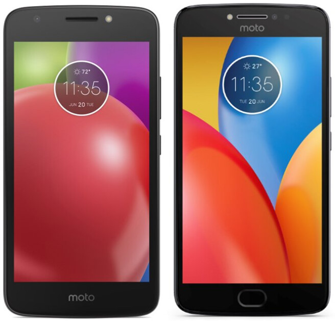 From left to right, the Moto E4 and Moto E4 Plus - Images of the Moto E4 and Moto E4 Plus surface