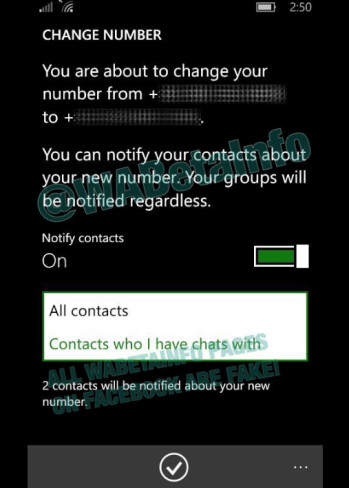 New feature for the WhatsApp Beta app allows users to send their new phone number to all contacts