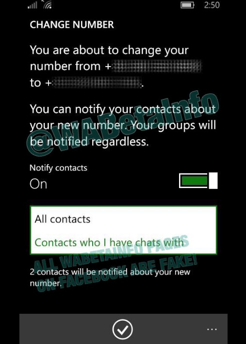 New feature for the WhatsApp Beta app allows users to send their new phone number to all contacts - WhatsApp Beta for Windows Phone tests new feature that alerts contacts to your new number