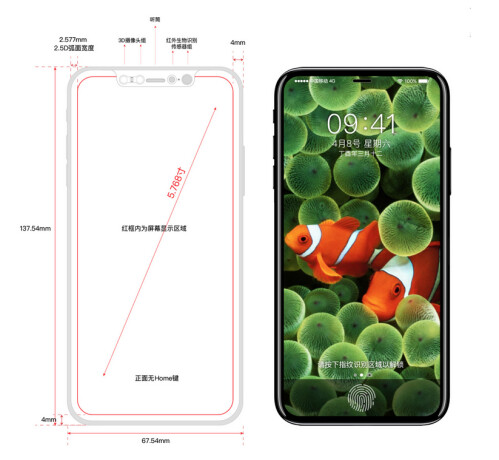Leaked schematics next to a 3D model of the iPhone 8