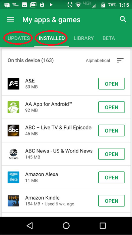 Update to Google Play Store separates installed app list from updates
