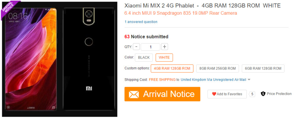 Retailer listing suggests the sequel to the Mi MIX will be a specs beast - Xiaomi Mi MIX 2 specs leak touts Snapdragon 835 and 8GB RAM