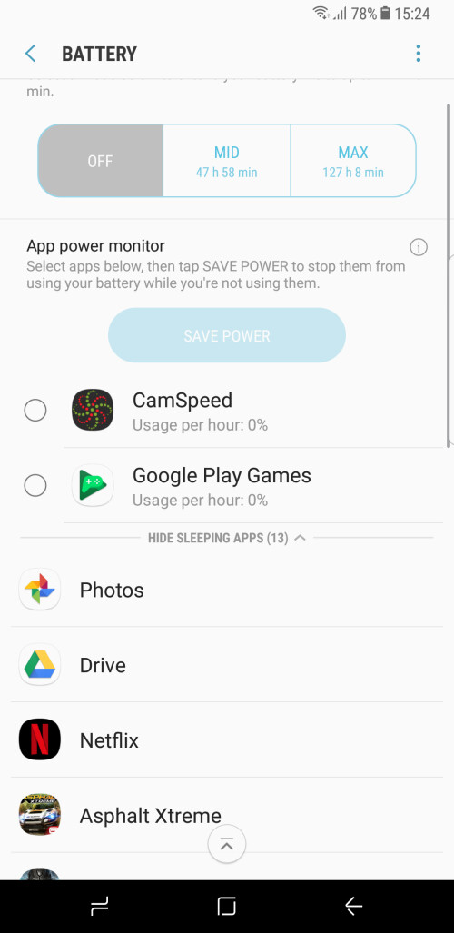 Utilize the App power monitor