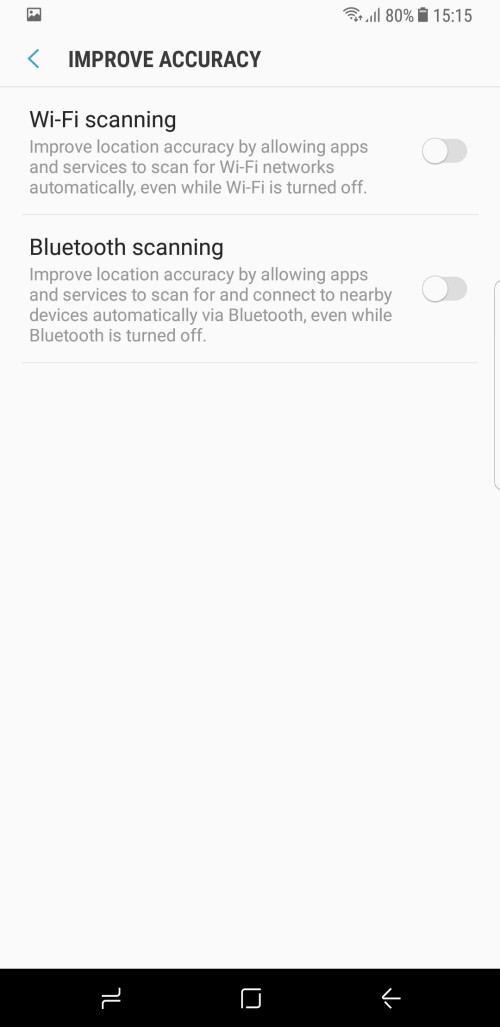 While you're at it, disable Wi-Fi and Bluetooth scanning