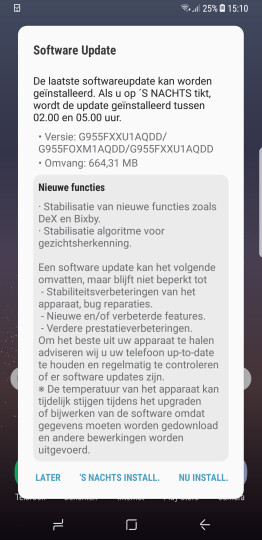 The patch notes in Dutch