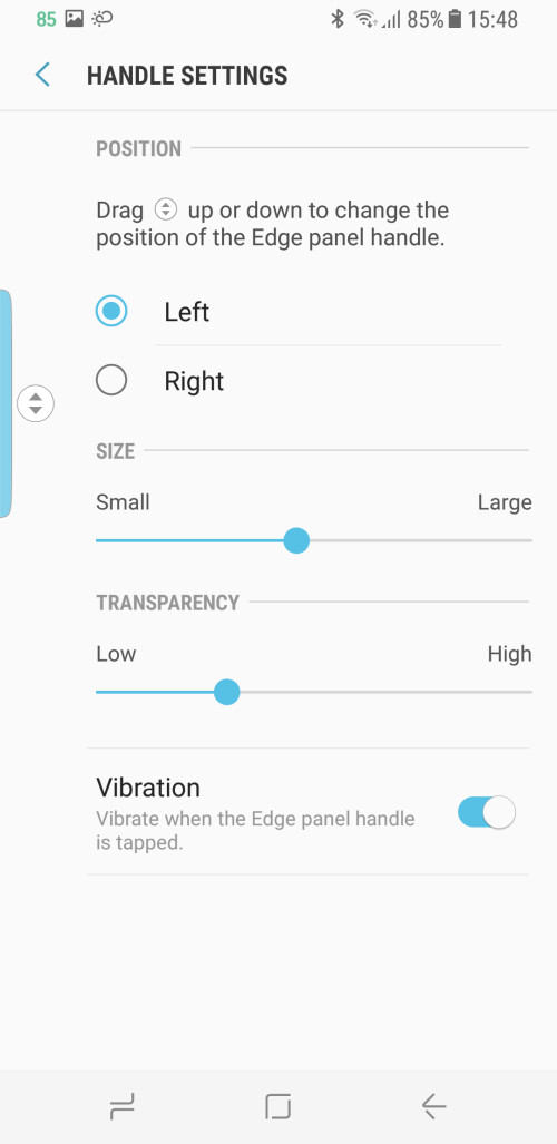 Enable or Disable the Edge panel and customize its position to left or right