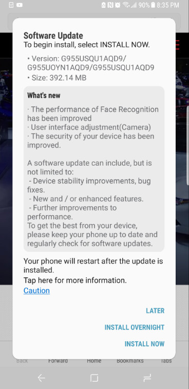 The Samsung Galaxy S8 is receiving an update today - Update pushed out to U.S. Samsung Galaxy S8 improves performance of the phone's features