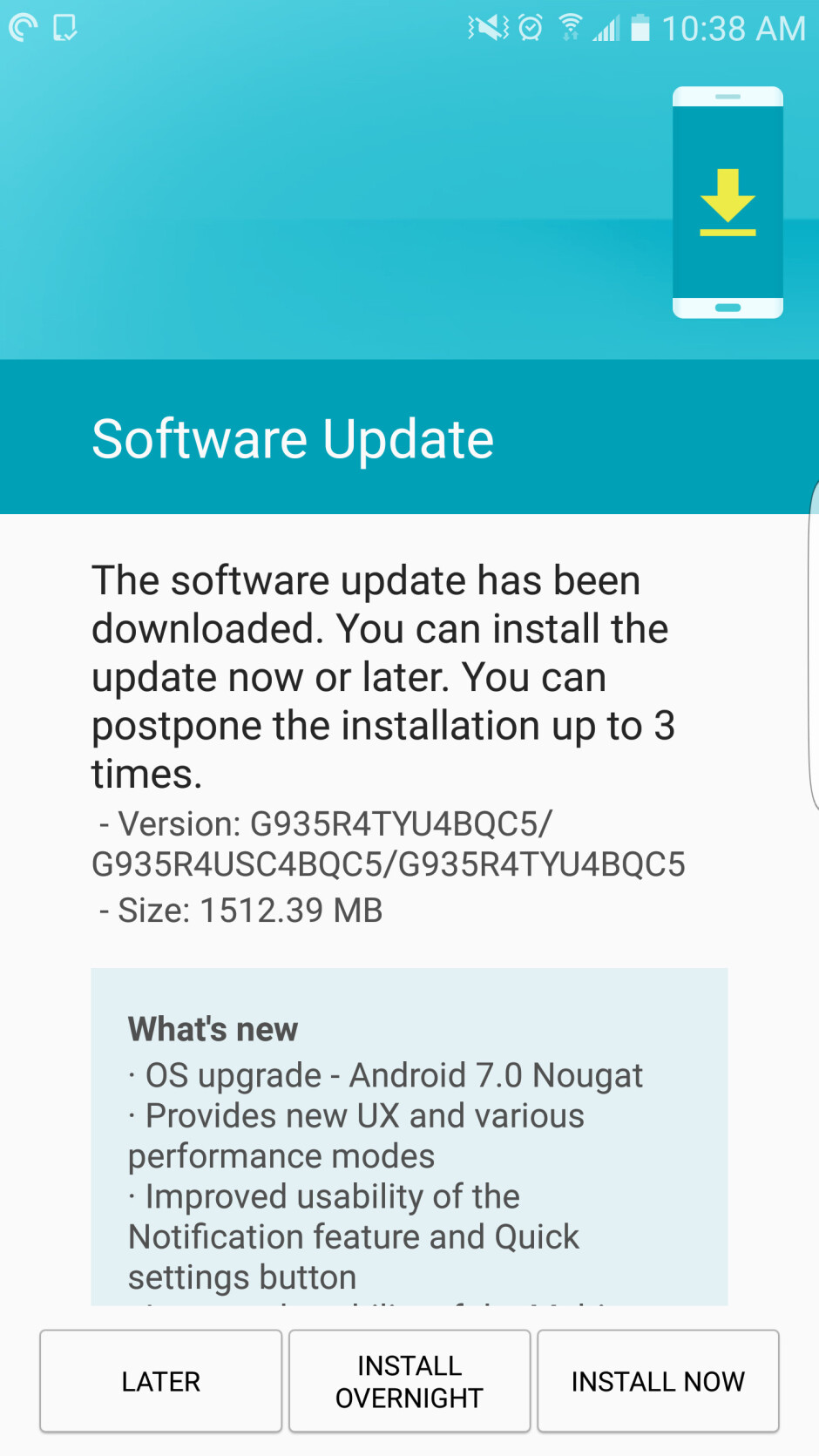 US Cellular starts pushing Android 7.0 Nougat for the Samsung Galaxy S7 and S7 edge