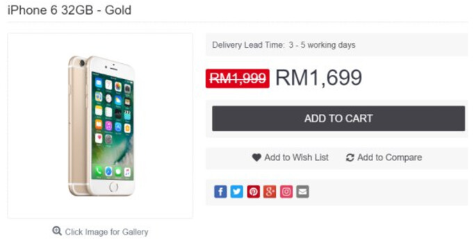 The 32GB Apple iPhone 6 (2017) has been cut in price by 15% in Malaysia - 32GB Apple iPhone 6 (2017) is cut in price by 15% in Malaysia