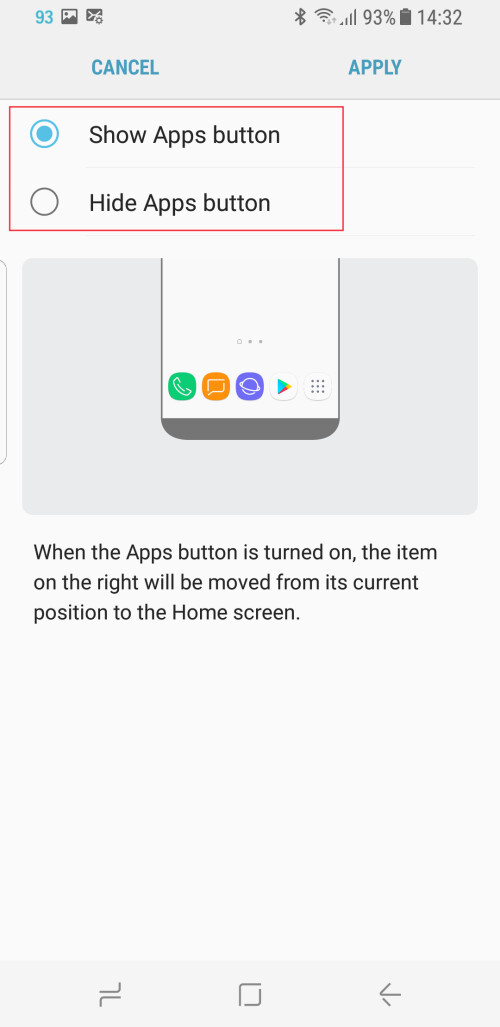 Show or Hide the 'Apps' button via settings