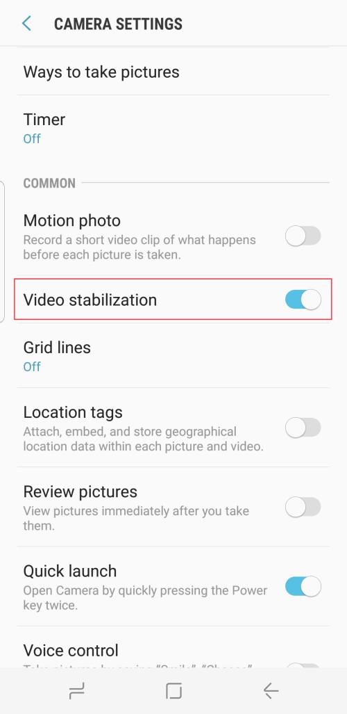 Enable video stabilization