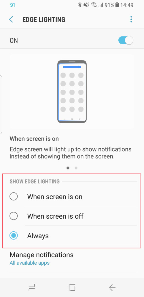 Enable edge lighting for incoming calls