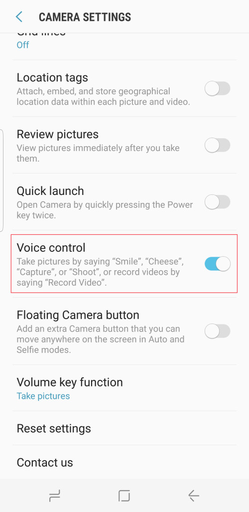 Turn on voice controls in camera
